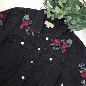 Pacsun Floral Denim Faded Black Jean Jacket